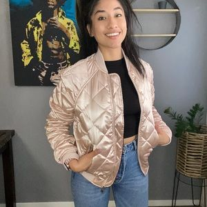 H&M satin quilted bomber jacket size 8
